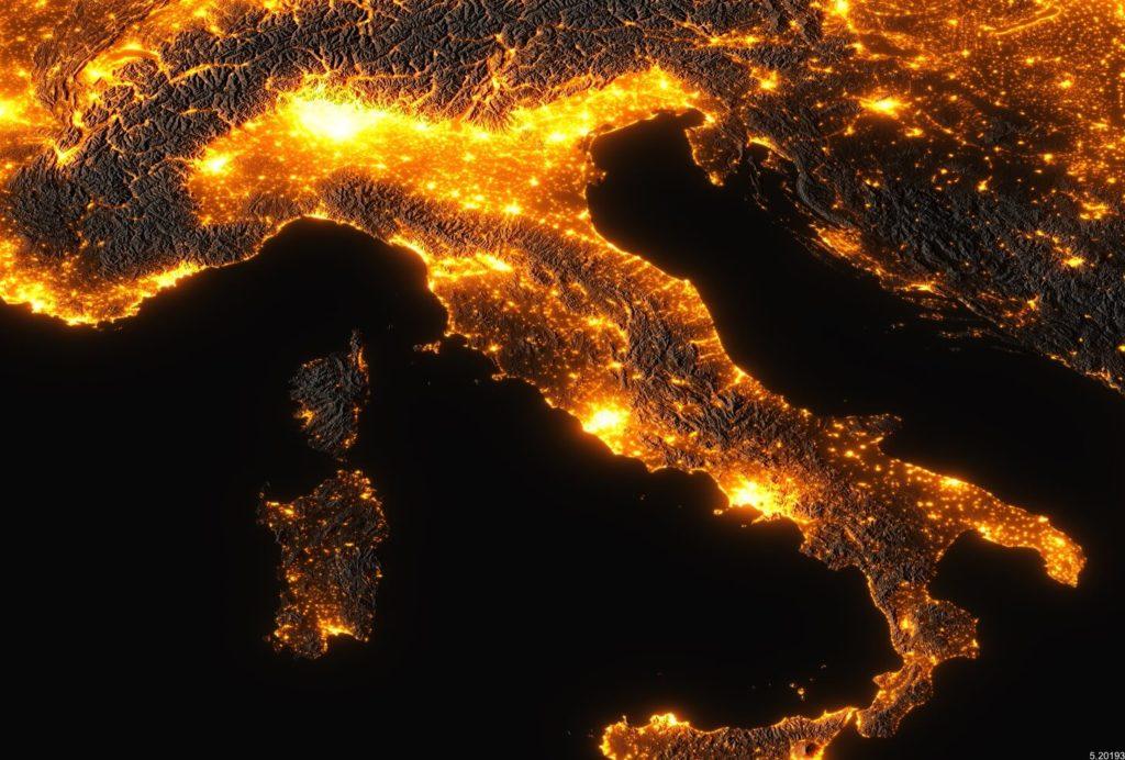 italia notte inquinamento elettrico